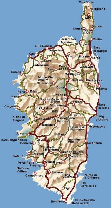 Mapa de carreteras de Córcega.